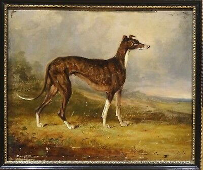 Fine 19th Century English Greyhound Dog Portrait Landscape Antique Oil Painting