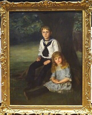 Large 19th Century Brother & Sister Park Portrait Antique Francis H WILLIAMS