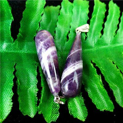 2Pcs Natural Purple Brazil Zebra Amethyst Teardrop Pendant Bead 28*9mm BS6703