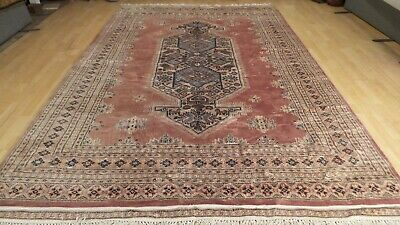 "Large ORIENTAL CARPET RUG Hand Made Traditional  WOOL TURKMEN 10ft 6"" x 7ft"