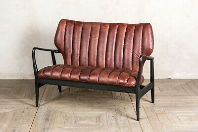 Chestnut Brown Leather Mid Century Modern Style Two Seater Sofa Ribbed