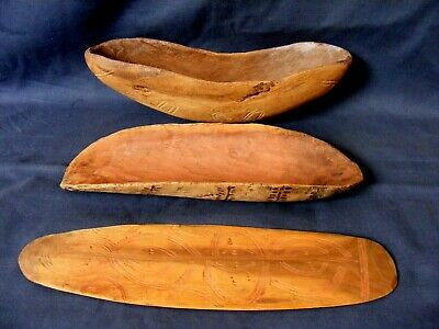 Collection 2 Antique Aboriginal Coolamon Bowls & Message Board