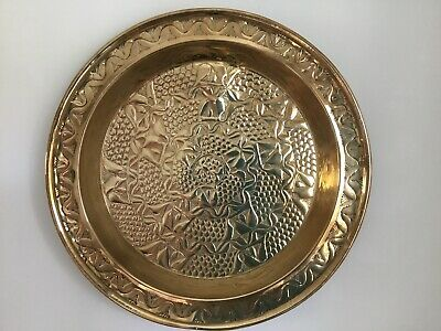 Pair of Arts and Crafts style brass chargers