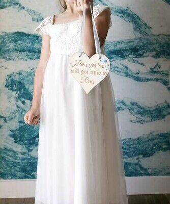 c5d8945694c Girls Monsoon Estella Maxi Dress Flowergirl Bridesmaid Ivory 8 Years Lace  Tulle