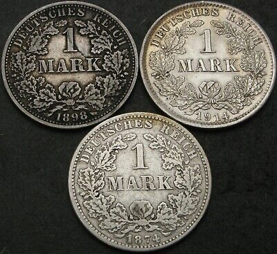 GERMANY (Empire) 1 Mark 1874F/1898A/1914D - Silver - 3 coins - 961 ¤