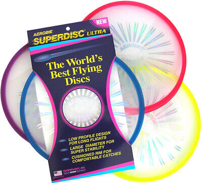 Aerobie Superdisc Ultra Frisbee Flying Outdoor Toy Blue/Green/Red/Yellow