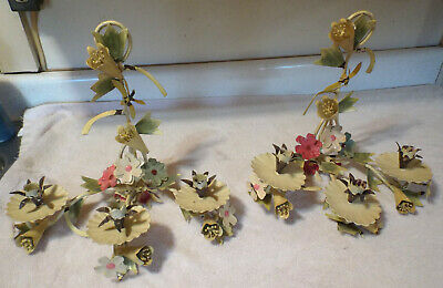 Pair Vintage Mid-Century Italian Tole Flower Wall Candle Sconces