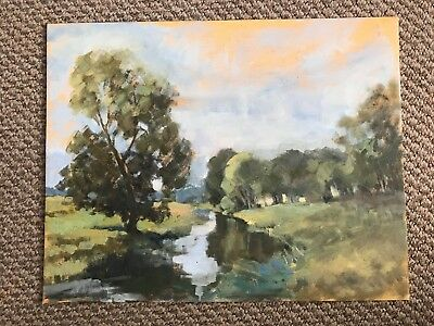 Unframed Oil Painting On Board - Rural Setting With A River