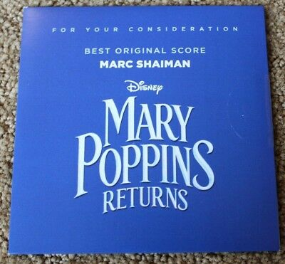 MARY POPPINS RETURNS FYC Best Original SCORE CD FOR YOUR CONSIDERATION
