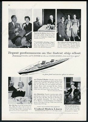 1958 Salvador Dali photo SS United States ship US Lines vintage print ad