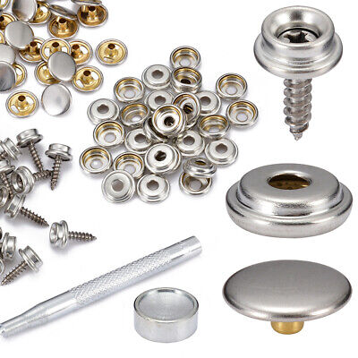 62PCS SNAP FASTENER Kit Stainless Steel Canvas to Screw