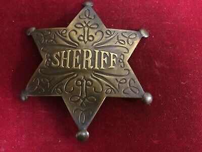Badge: Deluxe engraved Sheriff, brass star, Police, Lawman, Old West