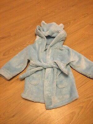Blue 12-24 Months Boys Dressing Gown- Cooper Embroidered