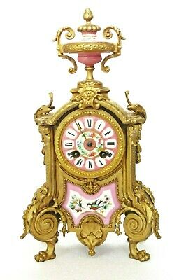 Antique Japy French Gilt Mantel Clock Pink Porcelain Painted With Bird & Flowers