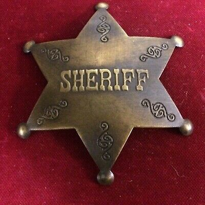 Badge: Deluxe Antique Finish Sheriff, brass star, Police, Lawman, Old West