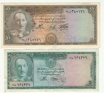 1333,1327 Afghanistan 5 And 10 Afg King Zahir Shah Paper Money Aunc.