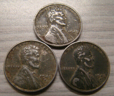 1943 P D S Steel Wheat Cent Set (3 Coins)   **FREE SHIPPING**