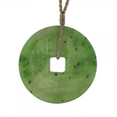 Carved Chinese Coin Genuine Natural Green Nephrite Jade Pendant on Cord