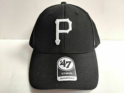 official photos 4fc0a 07abb Pittsburgh Pirates 47 Brand Cap Hook   Loop Adjustable Black WHite MVP Hat  MLB