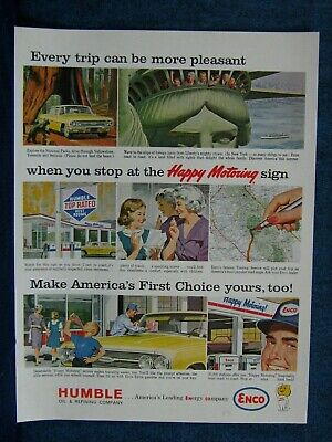 1963 Humble Oil  Enco Ad ~ Pleasant Trips  - Typical 60s Service Station Shown
