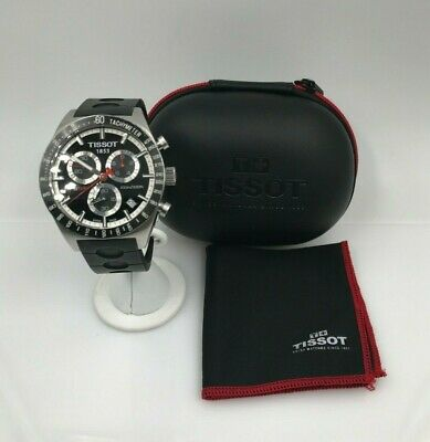 Tissot PRS516 Men's Stainless Steel Chronograph Black Dial Watch w/ Case T044417