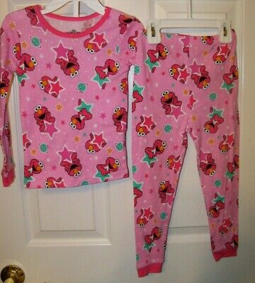 98ba647e0f Sesame Street Tickle Me Elmo Pink Star 2 Piece Long Pajama PJ Girls Size 4T  NWT