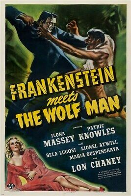 vintage movie poster FRANKENSTEIN meets THE WOLF MAN collectors new 24X36