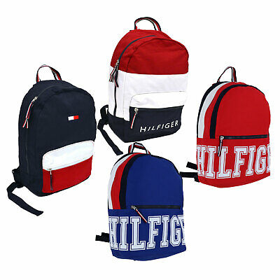 Tommy Hilfiger Bookbag Canvas 2 Pocket Backpack Shoulder Bag Unisex School  New a3660a278f43f