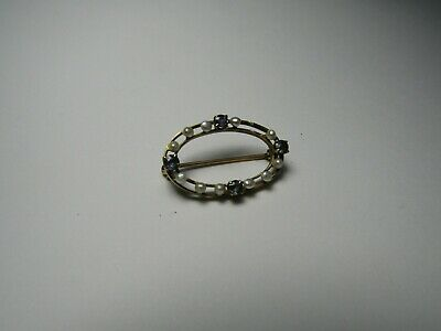 14K Yellow Gold Ladies Vintage Oval Sweater Pin Seed Pearls Sapphirer's