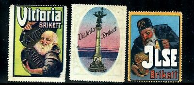 Poster Stamp ~1913 Germany Victoria Ilse Brikett Charcoal Coal Briquettes.