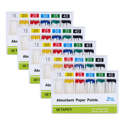 Dental 5 Box Absorbent Paper Points Cotton Fiber 15-40# 0.06 For Root Endodontic