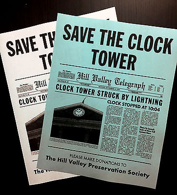 Back To The Future Save The Clock Tower Flier Set Prop/Replica *CLEARANCE ITEM*
