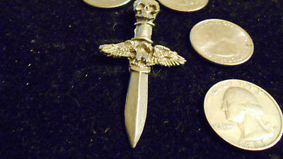 bling pewter GOTHIC fashion skull dagger pendant charm necklace HIP HOP JEWELRY