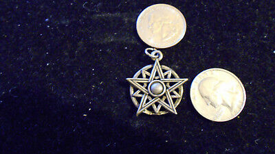 bling pewter MYTH GOTH CELT WITCH DRUID 5 POINT up STAR pendant charm necklace