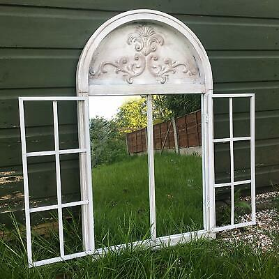 vintage rustic white metal Arched Garden Mirror Shutters Outdoor Illusion Window