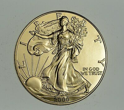 2000 24 Kt Gold Plated American Silver Eagle - Beautiful Coin! 1 Oz .999 *886
