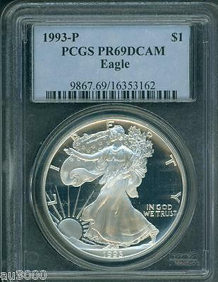 1993-P American Silver Eagle ASE S$1  PCGS PF69 PR69 PROOF DCAM (Deep CAMEO) PQ