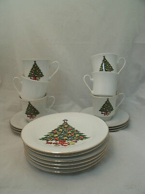 Trisa Fine China TRS1 Christmas Tree 6 Dessert Bread Plates 6 Cup & Saucer Sets