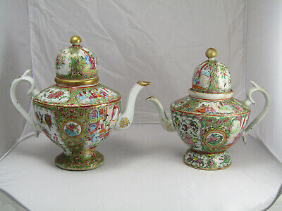 2 FINE ROSE MEDALLION TEAPOTS, CHINESE, 19th century, EXPORT, COFFEEPOT, FAMILLE