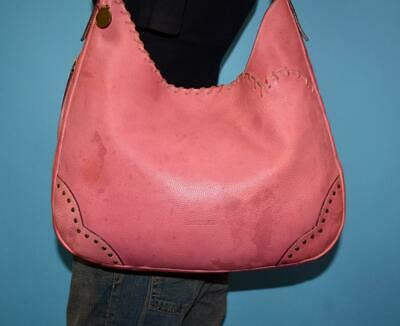 DOONEY   BOURKE Large Pink Leather Stitched Hobo Shoulder Tote Purse Bag  ITALY 5b1d925fc949d