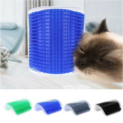 Cat Pet Self Groomer Brush Wall Corner Grooming Hair Fur Comb Massage Tool