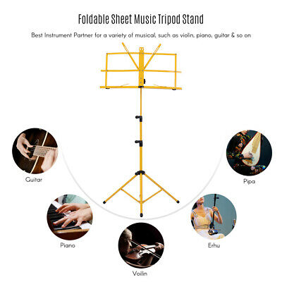 Adjustable Folding Sheet Music Tripod Stand Holder Heavy Duty Yellow+Case P6X5