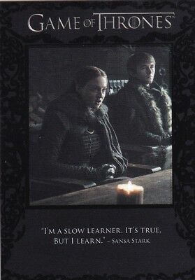 "2018 Game Of Thrones Season 7 Sansa Stark ""quotation"" Insert Card Q66"
