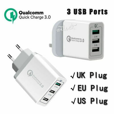 QC 3.0 Fast Quick Charge Adapter 30W 3 Ports USB Home Wall Charger UK/EU/US Plug
