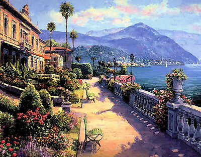 Coastal City Landscape Oil painting Picture Art Giclee Printed on canvas P299