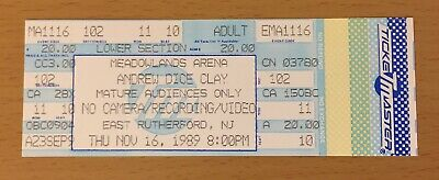 1989 Andrew Dice Clay New Jersey Concert Ticket Stub The Diceman Cometh Rules
