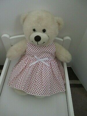 "DRESS  suitable Build a Bear  ""White with Red  Spots  "" FREE POST"
