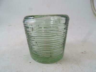 Antique Ribbed Victorian Glass Inkwell Ink Bottle Aqua Vintage 1800s Quill Pen