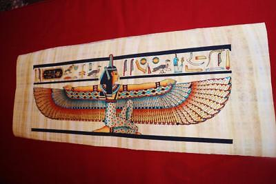 """Huge Signed Handmade Papyrus Egyptian Queen Winged ISIS Painting..32""""x12"""" Inches"""