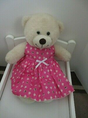 "DRESS  suitable Build a Bear  ""Hot Pink with Butterly's Flowers"" """